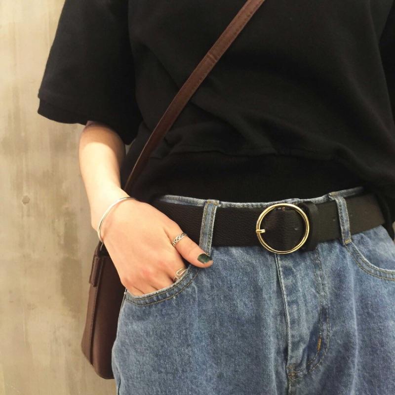 圓形金屬皮帶原宿潮流好搭 腰帶皮帶腰封高腰褲好 好看 包色兩色