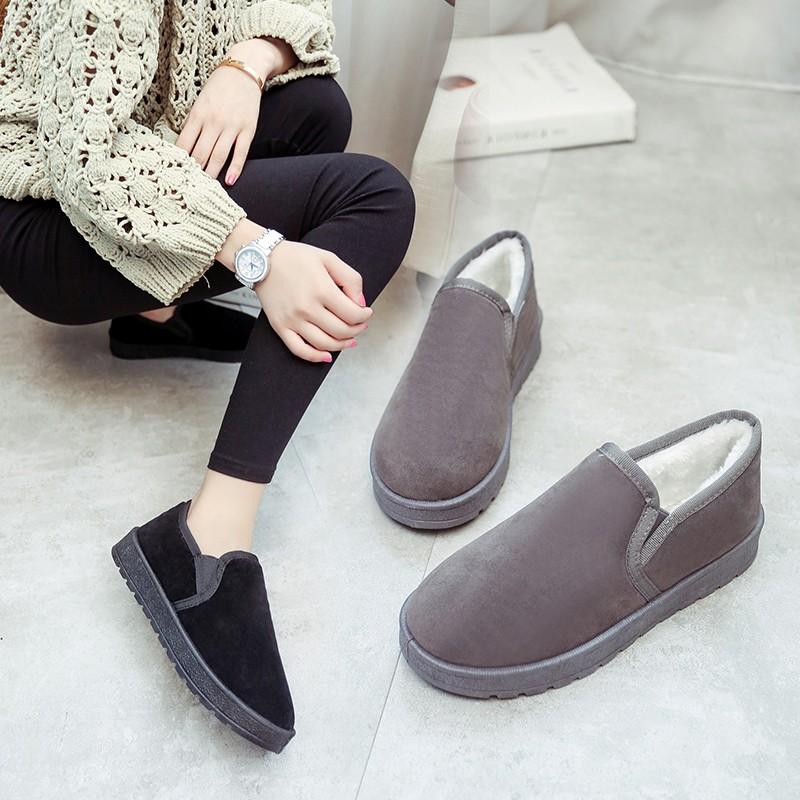 2016 加絨短靴 防滑雪地靴保暖學生麵包鞋棉鞋女平底豆豆鞋