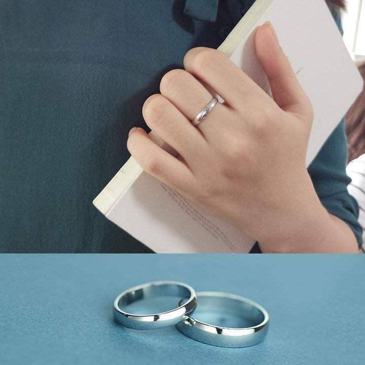 純銀情侶戒指女男對戒子一對日韓潮人簡約光面學生指環配飾品