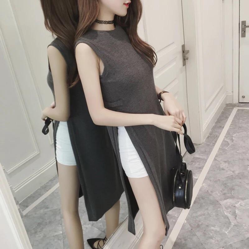 韓國大牌氣質高開衩圓領寬鬆中長版無袖背心連身裙