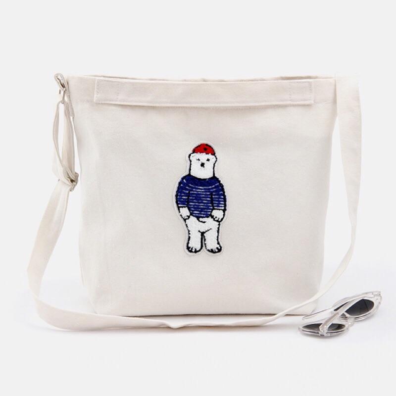 卡通小熊帆布斜挎包單肩包學生女包小花帆布包11028