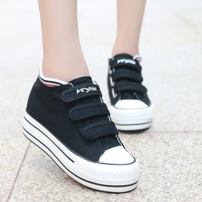 2015 春秋低幫帆布鞋女 學生內增高女鞋 鞋潮白色厚底松糕鞋