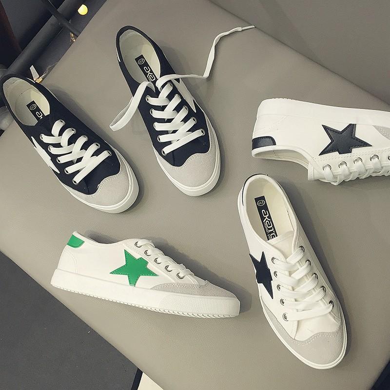 芊惠衣屋2016 夏低幫星星帆布鞋女透氣 板鞋子學生平底系帶小白鞋