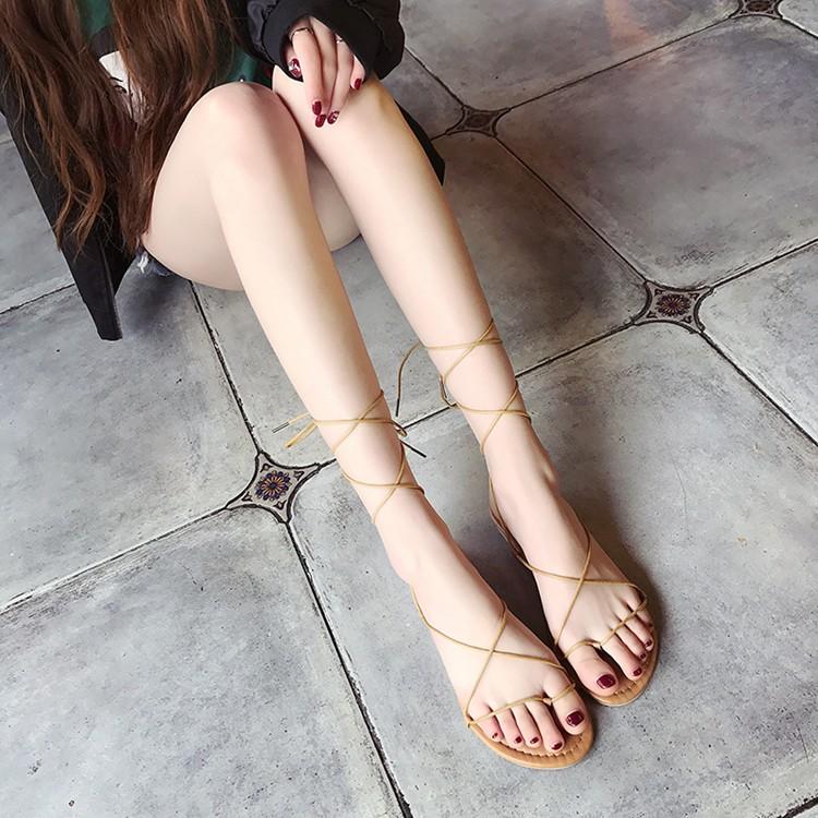2017  交叉綁帶平底羅馬涼鞋露趾女士夾脚簡約學生繫帶潮