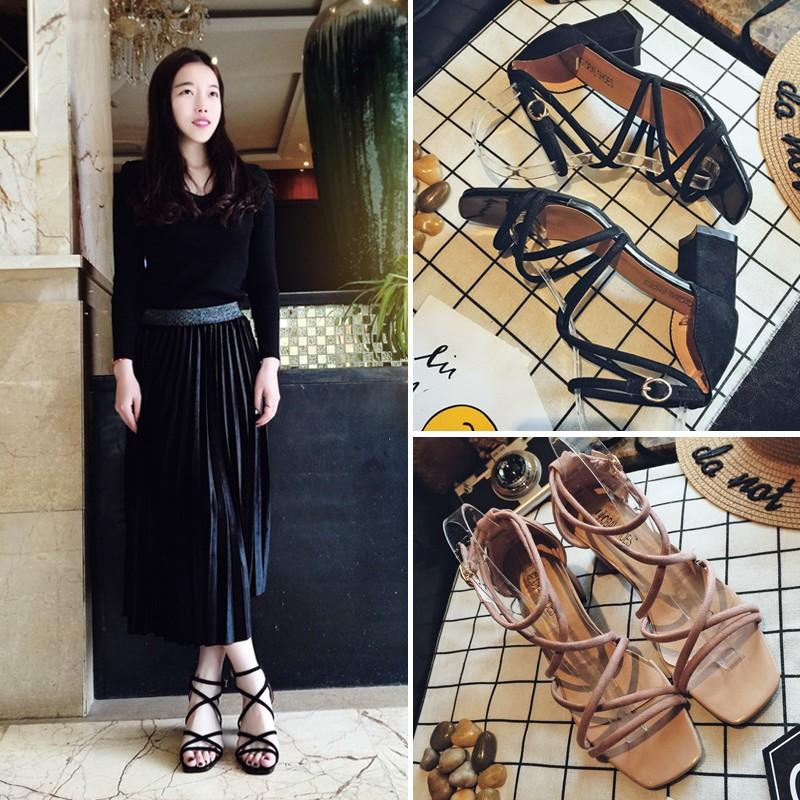 正韓性感露趾粗跟中跟鞋交叉細帶羅馬綁帶涼鞋韓國原宿女生潮鞋洋裝