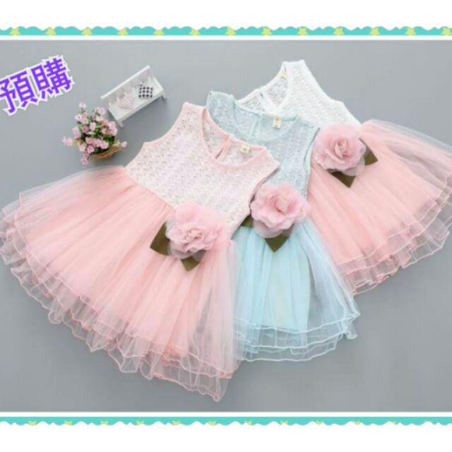 女寶寶蕾絲鏤空花朵連衣裙