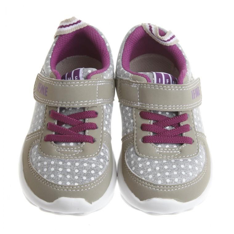 童鞋 IFME 灰紫圓點印花超輕量機能 鞋