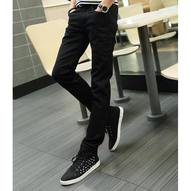 男士牛仔褲 修身直筒小腳褲黑色窄管褲