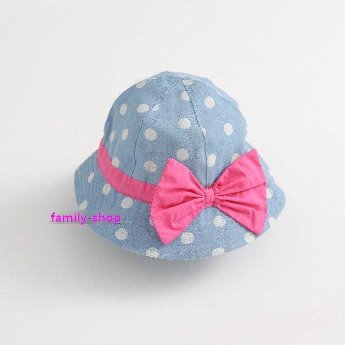 寶寶兒童女童波點蝴蝶結純棉牛仔藍漁夫帽盆帽遮陽帽兒童帽子兒童帽寶寶帽