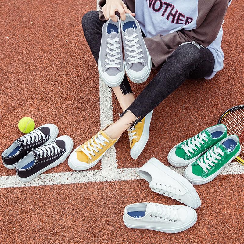 低幫系帶男女情侶平底板球鞋學院風純色帆布鞋學生鞋6651