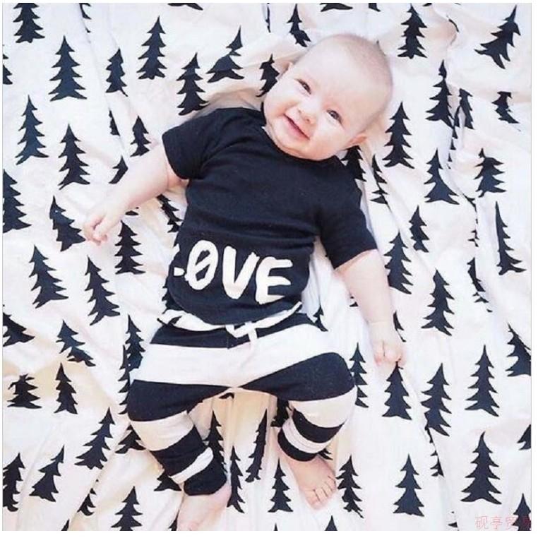 套裝組 款男童LOVET 恤上衣條紋褲兒童新生兒男孩寶寶❤❤Q cute baby ❤❤D