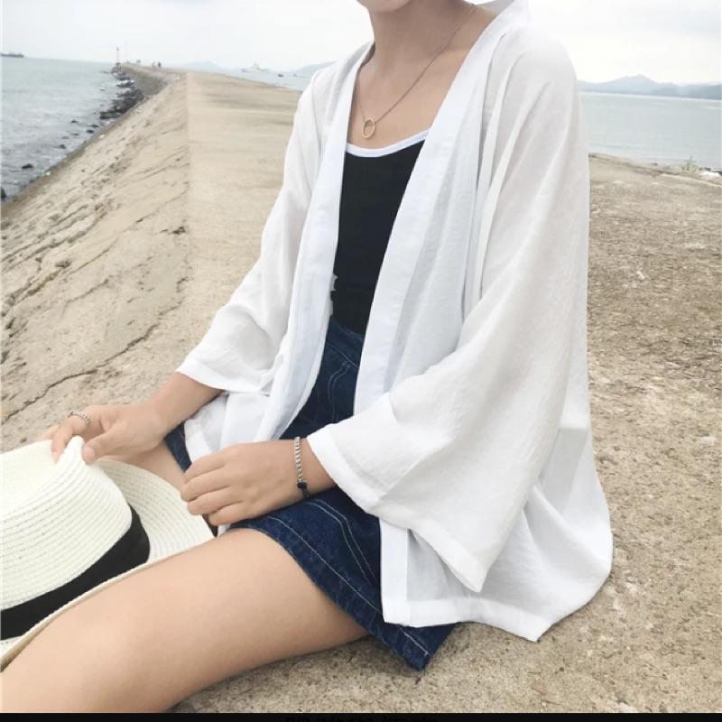 夏裝 百搭寬鬆七分袖純色防曬日系和服開衫薄款防曬衣外套女