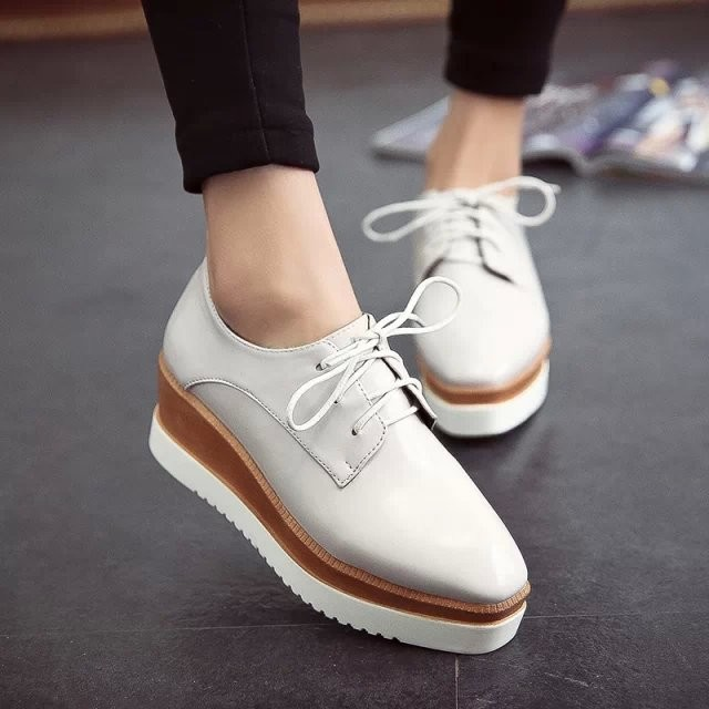 ♣Stella 星星厚底鞋軟皮高跟松糕鞋坡跟方頭日系單鞋鞋子baby 同款尖頭高跟鞋厚底涼