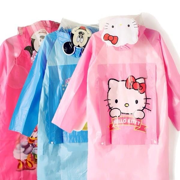 兒童雨衣帶書包位卡通雨披男童女童韓國小孩加厚學生雨衣(附雨衣收納袋)