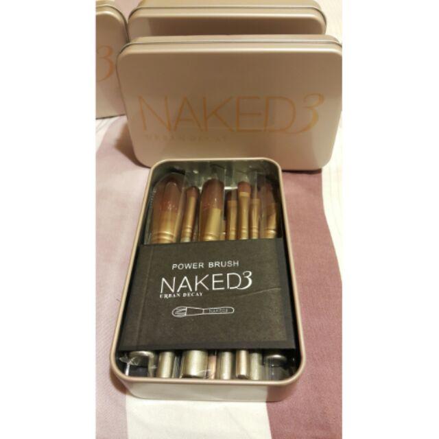 ♡ ♡NAKED3 代12 支化妝刷香檳金色便攜式超 鐵盒套刷♡完整無瑕疵