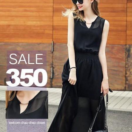 SISI ~D5158 ~飄逸迷人優雅 飾品裝飾V 領縮腰雪紡無袖連身裙洋裝