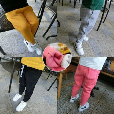 ღ瑪琪朵小舖ღ2016  女童休閒舒適純色口袋加絨加厚休閒褲長褲