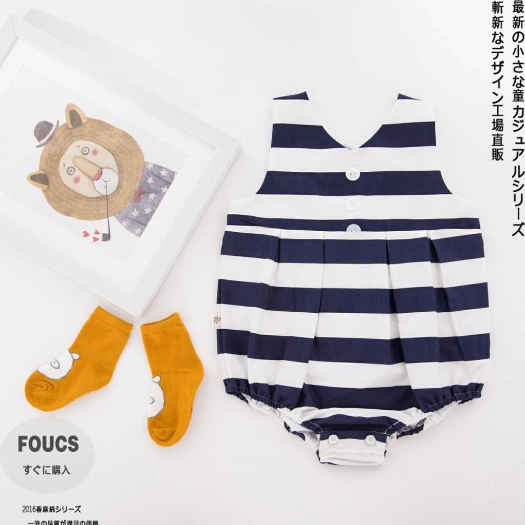 0 36 月韓寶寶純棉連體衣夏裝女薄款嬰兒圓領哈衣條紋爬服小孩衣服