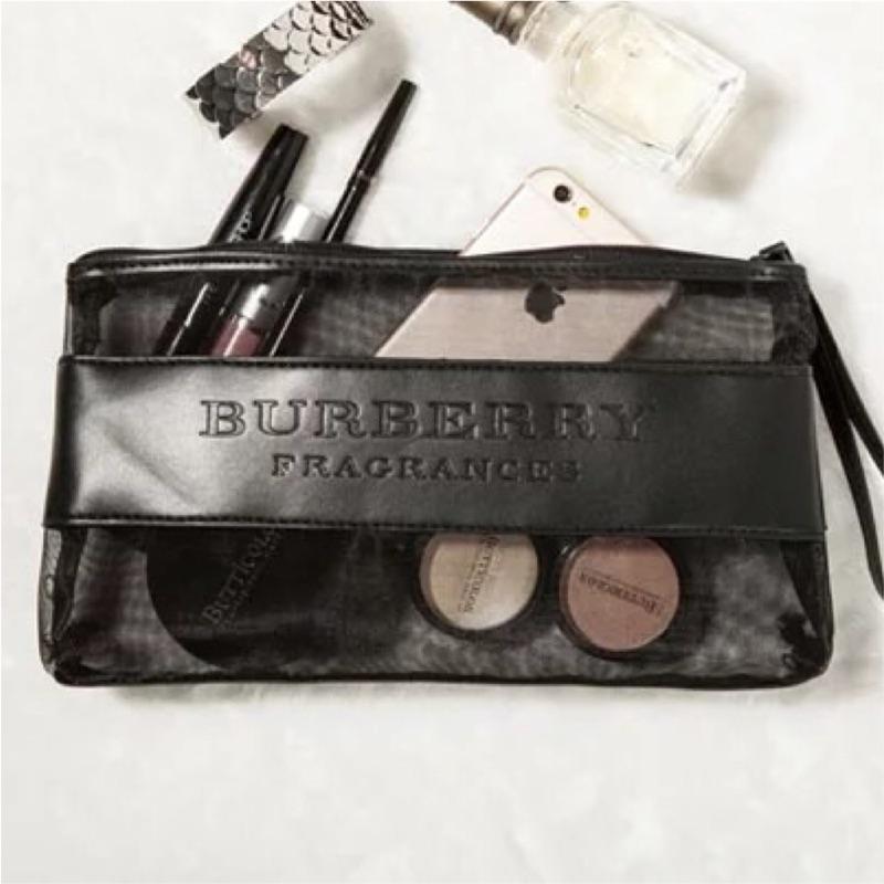 Burberry 專櫃贈品網紗漆皮收納洗漱包女零錢手機袋 外貿大牌