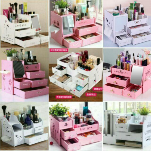 ~14 款2 個750 ~DIY 5mm 桌上化妝盒防水加厚板桌面化妝品收納盒化妝盒三抽屜