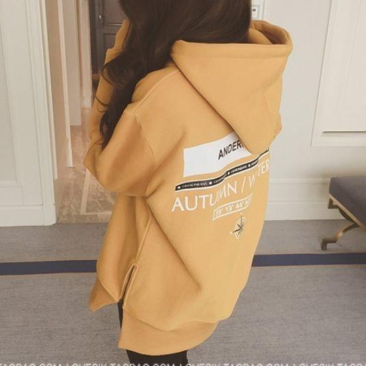 EASON SHOP GT8411 長袖連帽T 恤韓國 款簡約復古 風純色素色單色背後字母