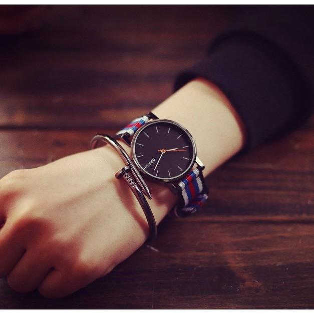 藍紅白相間 原宿風格尼龍錶帶男錶女錶情侶手錶~SB050602 ~