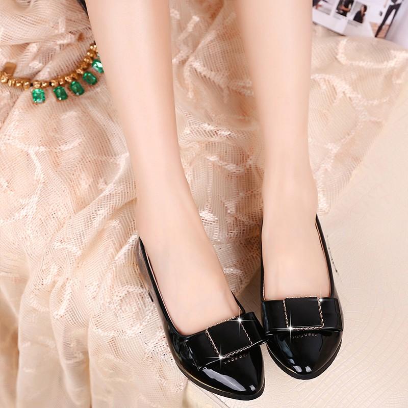 ~潮電街~ 真皮平底鞋蝴蝶結淺口尖頭羊皮單鞋百搭舒適職業平跟瓢鞋