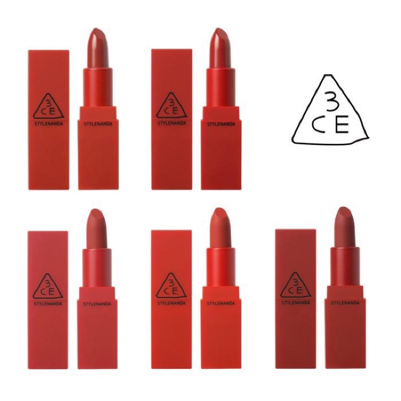3ce 版霧面唇膏啞光唇膏正紅色磚紅色