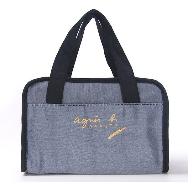 限定agnes b beaute 灰色大容量化妝包手提包包中包收納包袋中袋