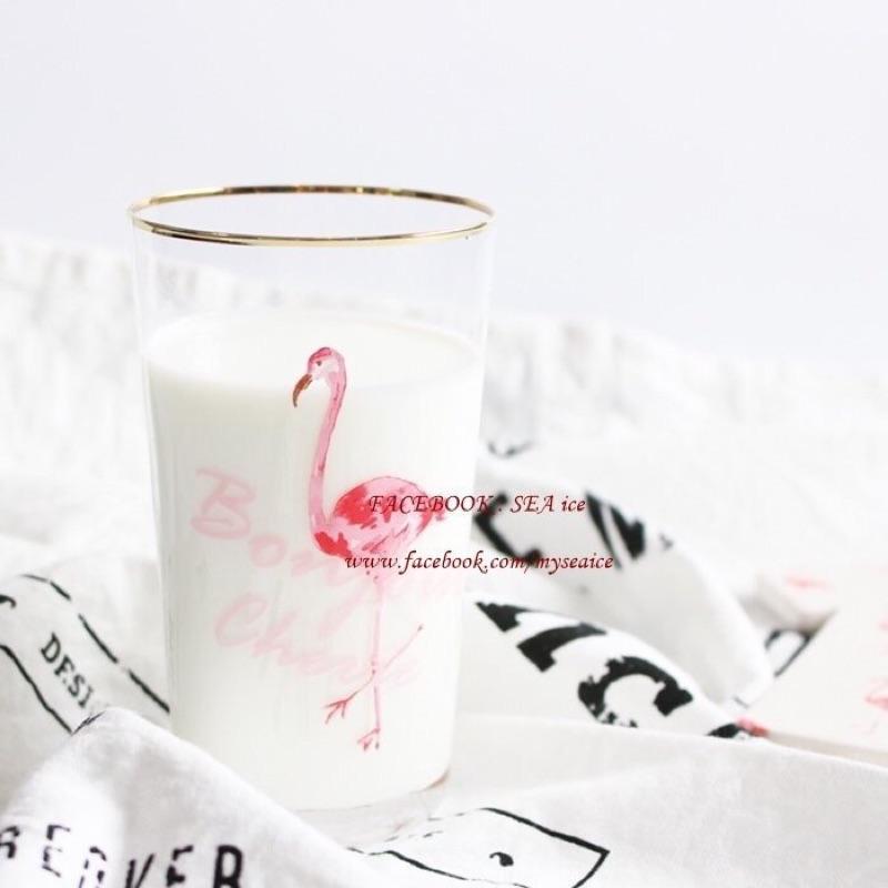 少女系列 粉嫩火紅紅鶴金邊Flamingo 玻璃杯早餐杯冷飲杯水杯咖啡杯湯碗馬克杯夏日汽水