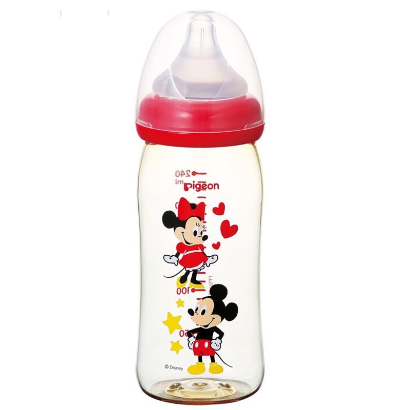 Pigeon 2016 款,貝親母乳實感寬口徑240ml 奶瓶~紅色Q 版米奇米妮款!