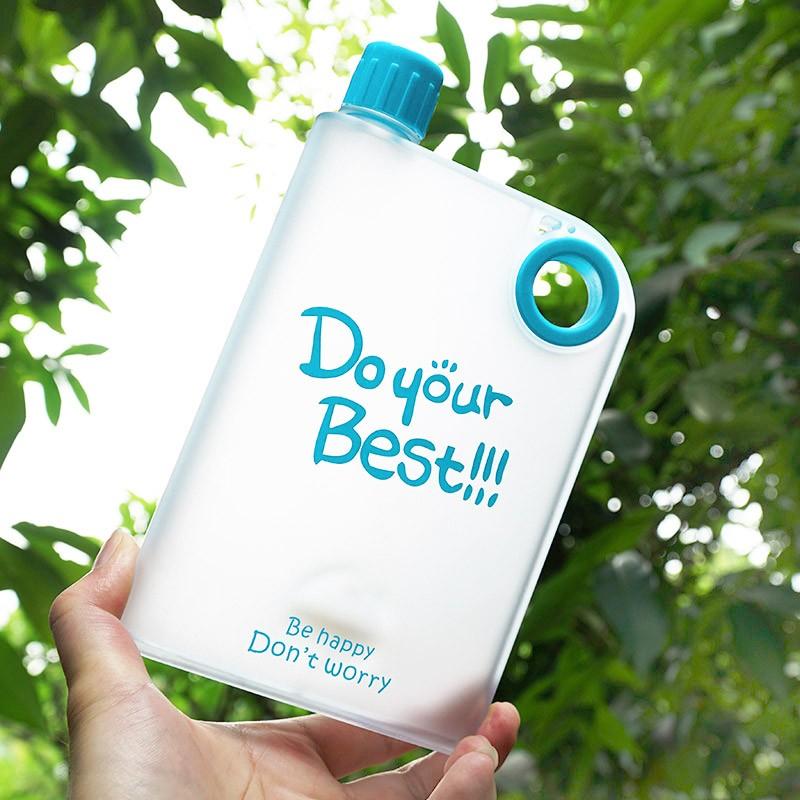 韓國 潮流塑料水杯子磨砂學生A5 紙張紙片便攜隨手杯扁平水壺女
