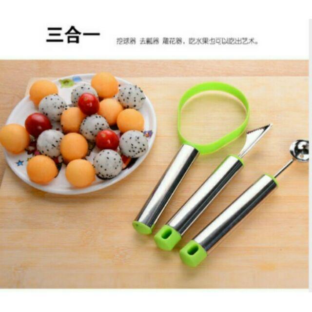 切水果神器不銹鋼水果挖球器雕花拼盤三件組