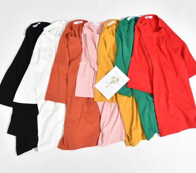 【高 】套頭純素色純棉短袖T 卹女裝圓領寬鬆t 卹加大碼打底衫百搭款正韓上衣大碼衣著大