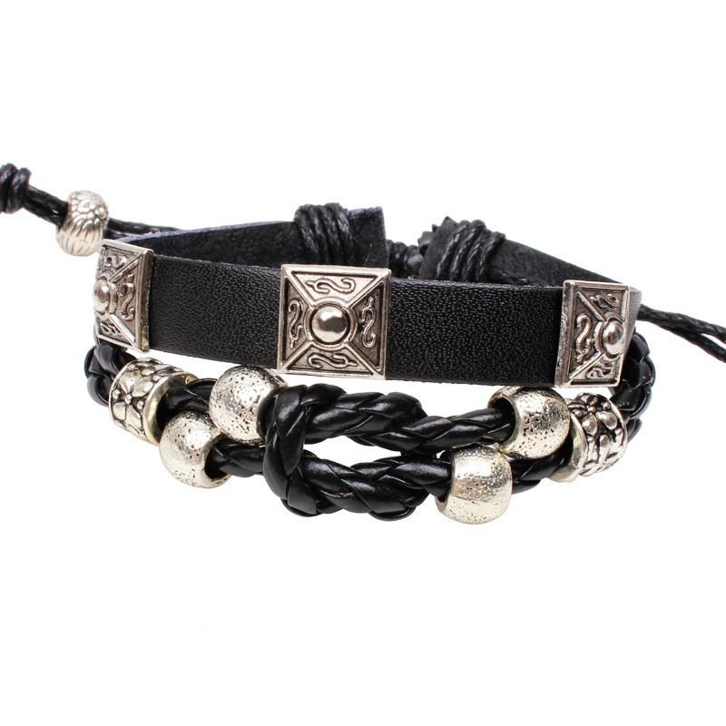 黑皮蛇紋合金復古手鍊 編織 手鍊飾品店爆款