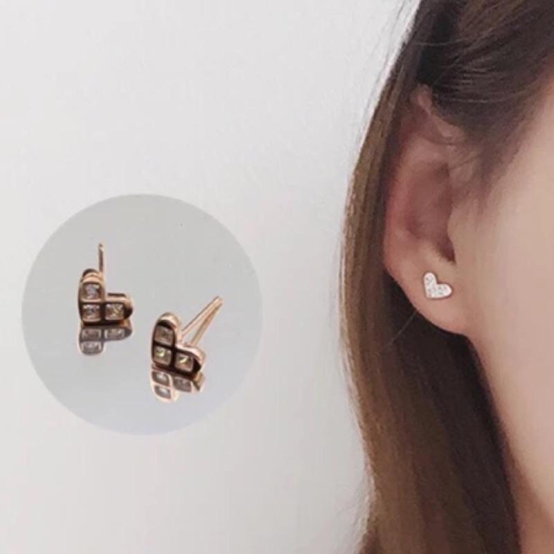 ❄️藍雪花❄️925 純銀耳環迷你愛心耳釘天天 doctor 李聖經同款女玫瑰金鑲鑽耳環