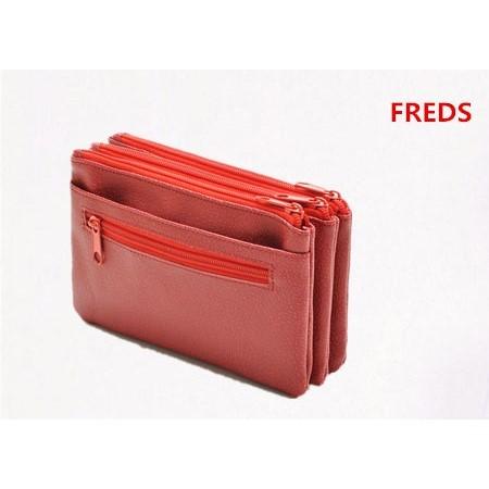 美單FREDS 豔紅多 大容量三層長夾手機包錢包皮夾手拿包化妝包收納包