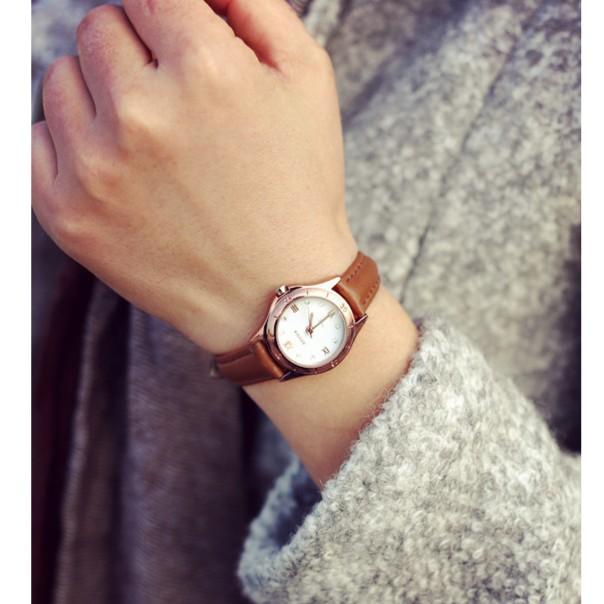 THEBEZ 皮帶女生手錶女韓國潮流中學生復古細帶真皮氣質小巧女款