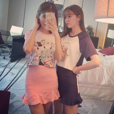 實拍韓系學院風修身顯瘦 粉色兔子和斑馬拼色插肩上衣魚尾短裙閨蜜套裝女