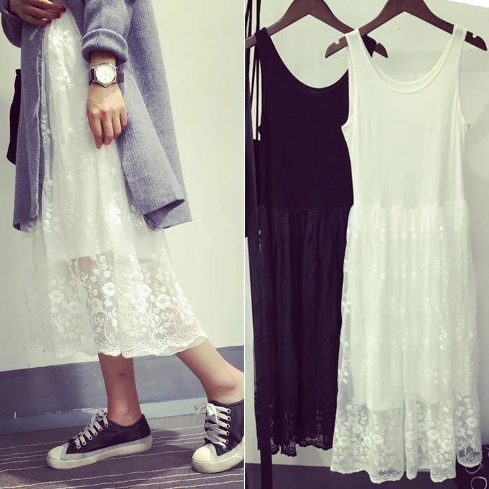 百搭甜美蕾絲中長款拼接背心裙內搭打底連身裙 黑白