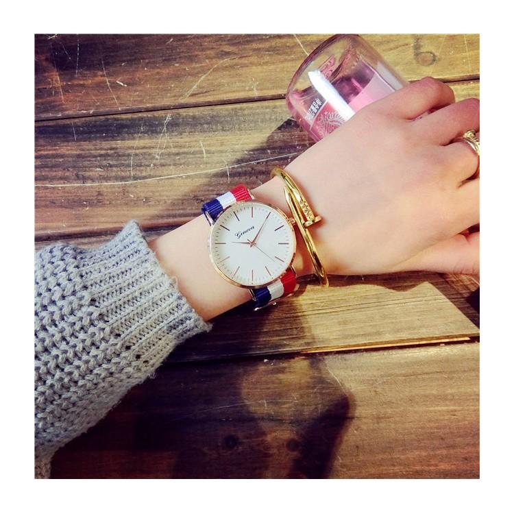 7 款超正配色英倫復古潮流風簡約帆布條紋錶男女情侶對錶