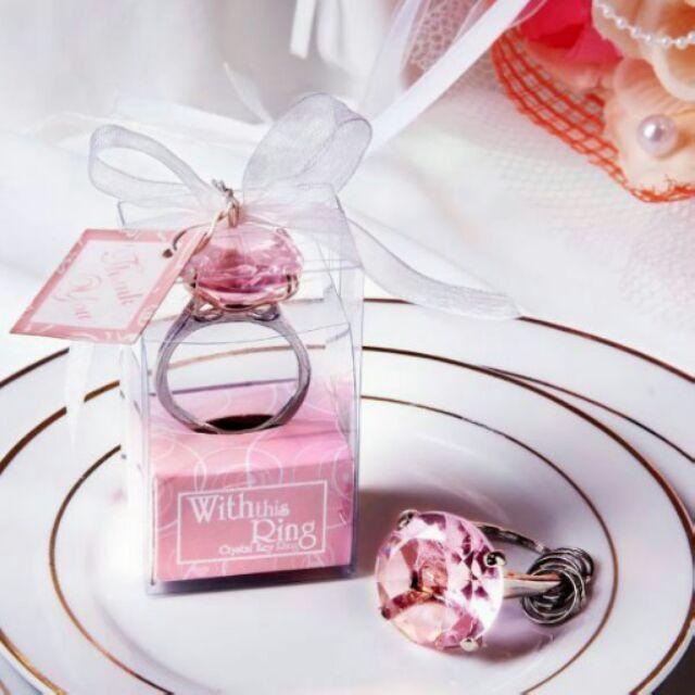 ~愛橘窩-30 個鑽石鑽戒鑰匙圈粉紅~KR1 ~婚禮小物包裝;各種節慶 ; 小物創新;雜七