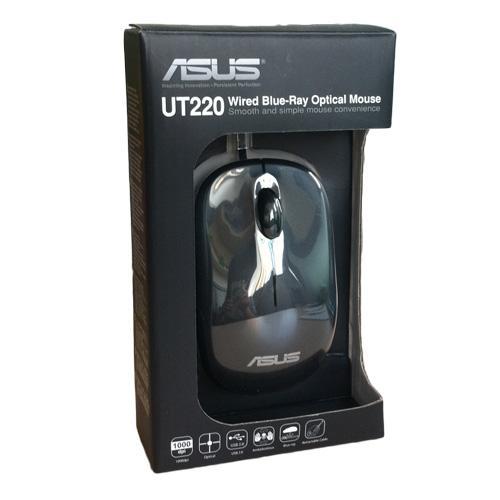 ASUS 黑色華碩 滑鼠UT220 有線滑鼠伸縮藍光游戲USB 滑鼠光學滑鼠黑色送鼠墊