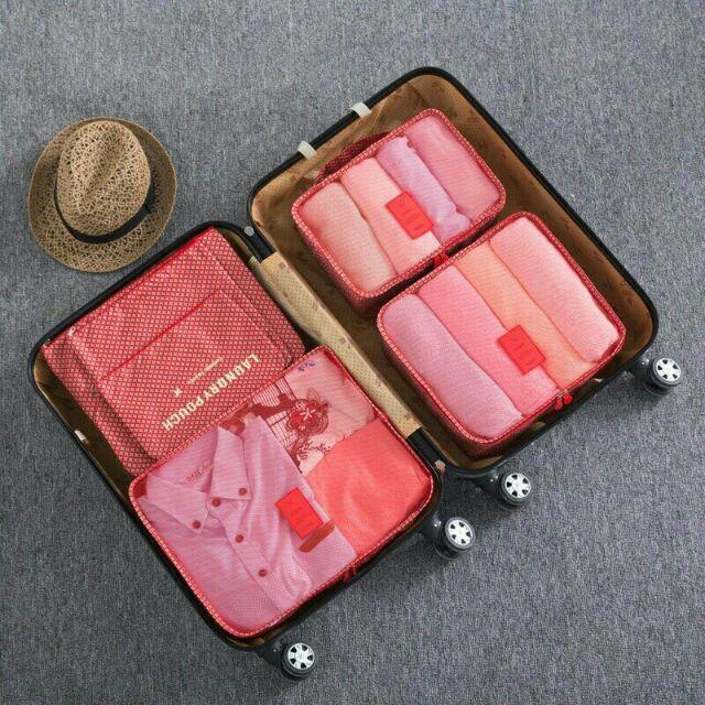 花色韓式加厚細網旅行收納6 件組旅行收納袋6 件組6 件套旅行收納包