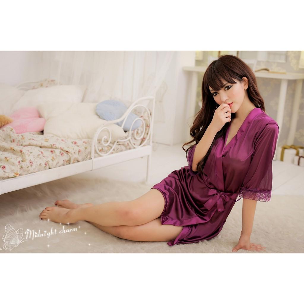 冰絲長裙浴袍睡裙女式睡衣睡袍7039