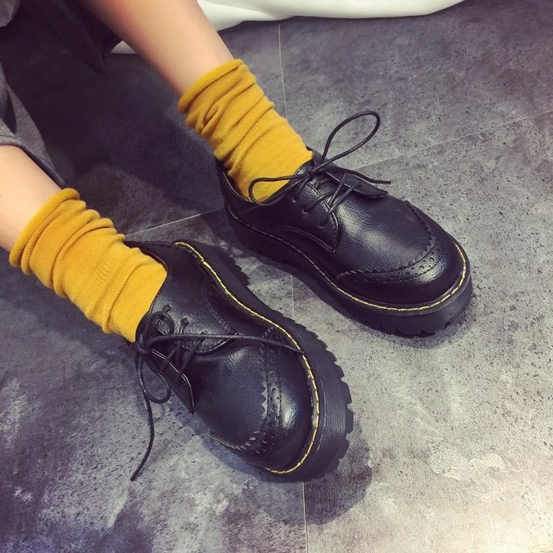 小皮鞋女英倫學院風中跟圓頭平底系帶布洛克女鞋 復古厚底單鞋鞋子女鞋休閒鞋懶人鞋豆豆鞋娃娃鞋