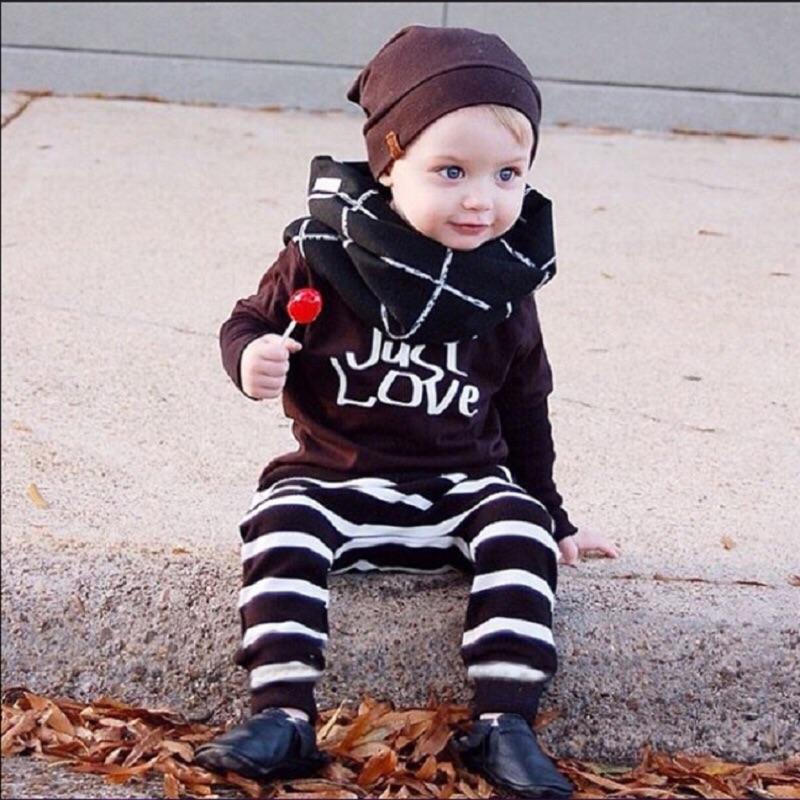 曈曈Baby INS 爆款兒童套裝長袖T 條紋褲子兒 男童嬰兒裝