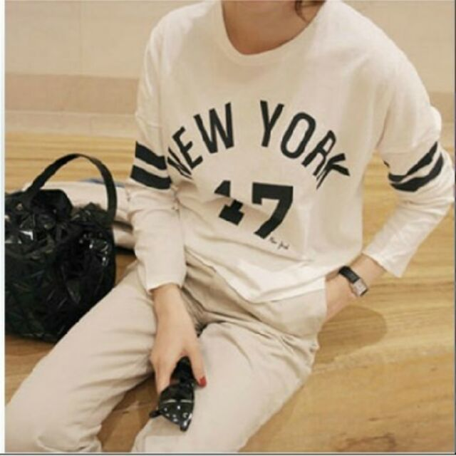 薄款打底衫女裝字母數字17 寬鬆長袖t 恤上衣顯瘦