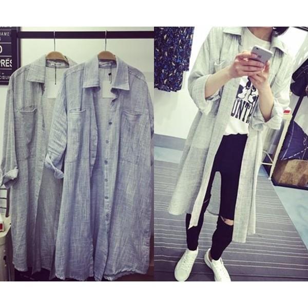 ♫棉麻透氣長版七分袖襯衫外套灰色bwk0011