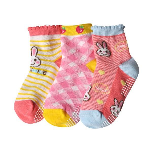 ~韓風童品~3 雙組女童 薄棉襪兒童棉質網眼襪菱格圖案女童襪女童透氣短襪